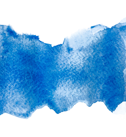 blue watercolor isolated on white backgrounds, hand paint on paper. 스톡 콘텐츠