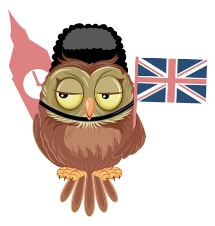 Cute Cartoon Owl with England Flag and Big Ben. Vector illustration.