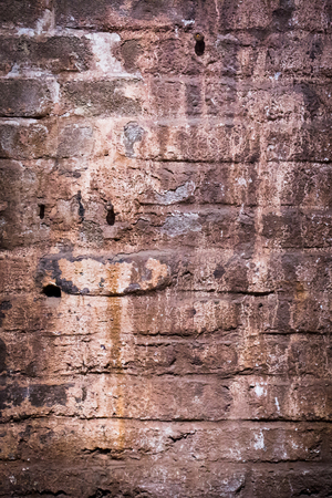 moist: an old stone moist and weathered wall of brick stones