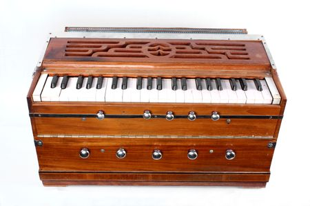 A traditional Indian musical organ instrument called the Harmonium. Stock Photo