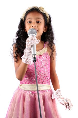 A portrait of a cute Indian girl in a singing performance, on white background.