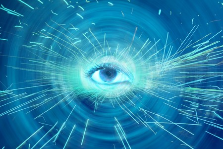 An abstract spiritual background showing a spiritual eye radiating sparks. photo