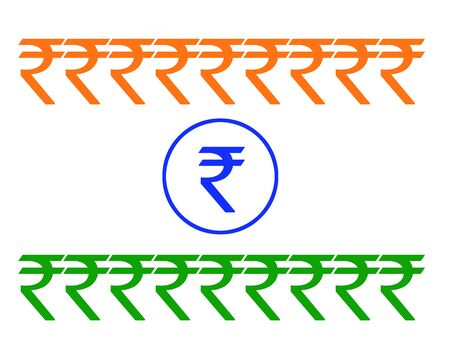 rupees: An Indian flag formation made with the new symbol for the Indian currency - Rupee.