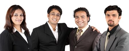 A group of young Indian business team, on white studio background.