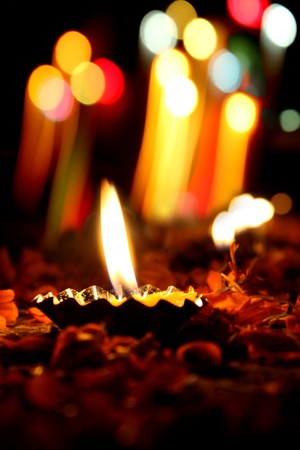 Beautiful lamps traditionally lit on the occassion of Diwali festival in India. Stock Photo