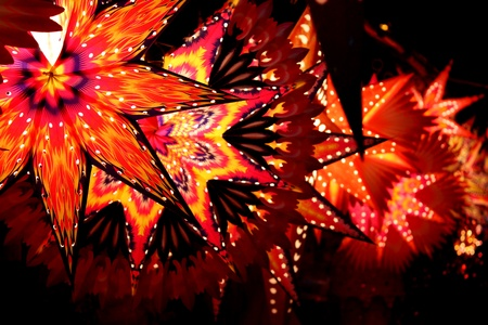 Star shaped lanterns lit on the festive occassion of Christmas  Diwali in India.
