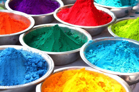 containing: Bowls containing colorful powder for the traditional celebration of holi festival in India.