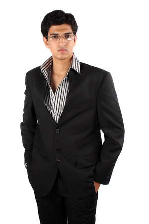 A young Indian entrepreneur, isolated on a white studio background.