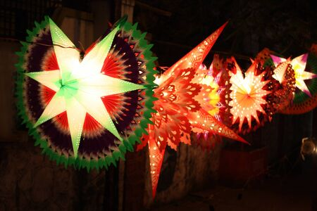 Beautiful lanterns of different shapes traditionally lit on the occassion of Diwali festival in India. Stock Photo - 10115466