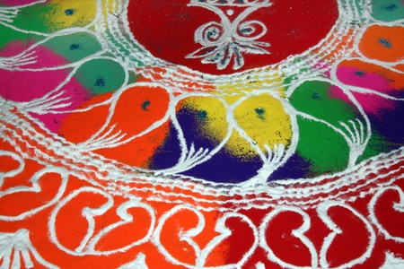 rangoli: A beautiful design traditionally made of colorful powder on the occassion of Diwali festival in India.