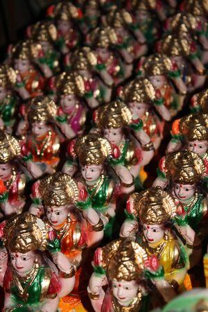 idols: Old Idols of Indian Goddess Laxmi in a potters shop.