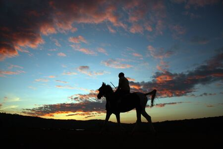 adventurer: A silhouette of a horserider after sunset, under beautiful skies in twilight colors.