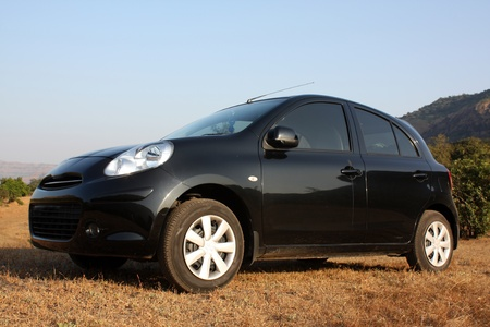 hatchback: A black hatchback car parked in the countryside grass