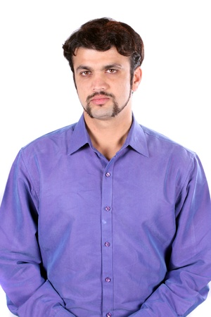 indian male: A portrait of a handsome middle-aged Indian man, on white studio background