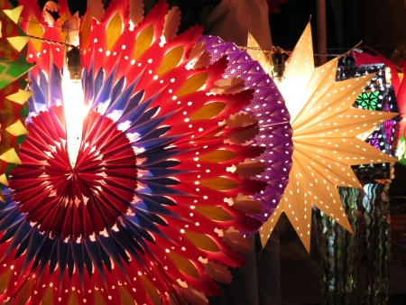 Colorful traditional lanterns lit up on the occassion of Diwali  Christmas festival in India. photo