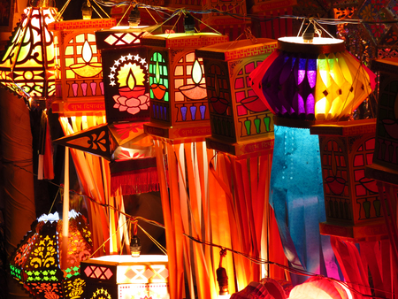 Traditional Indian lanterns for sale on the occassion of Diwali festival in India                                Stock Photo
