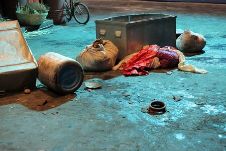 belongings: The belongings of a poor person living on the streetside in Mumbai, India. Stock Photo
