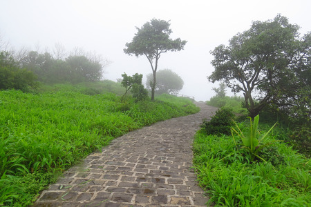 cobbled: An old cobbled path on an old fort during monsoons, covered with clouds and not mist. Stock Photo