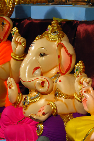 ganesh idol: A very different kind of lord Ganesha idol, during Ganesh festival in India. Stock Photo