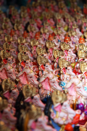 idols: Hundreds of Ganesha idols for sale in a shop in India, on occasion of Ganesh festival