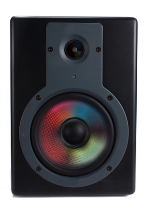 woofer: A unique speaker concept with a CD design on its woofer and twitter.