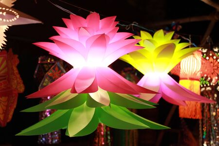 deepawali: Colorful flower shaped lanters lit on the ocassion Diwali festival festival in India.