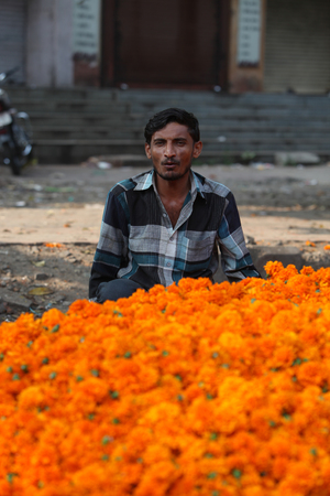flower seller: Pune, India - October 21, 2015: A flower seller with his marigold flowers  in India, on the eve of Dassera festival