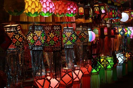 colorful: A streetside shop in India displaying different traditional and modern sky lanterns to be used traditionally for Diwali festival in India.