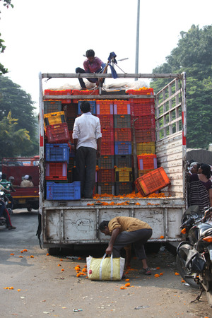pune: Pune, India - October 21, 2015: Farmers unloading boxes of Marigold flowers for sale on the eve of Dassera festival in which these flowers are traditionally used. Editorial