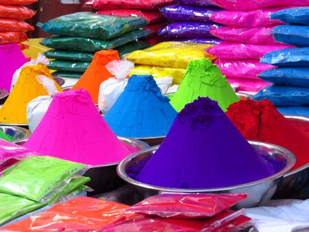 Rangoli colors for sale on occasion of a festival like Diwali or Holi in India. Stock Photo