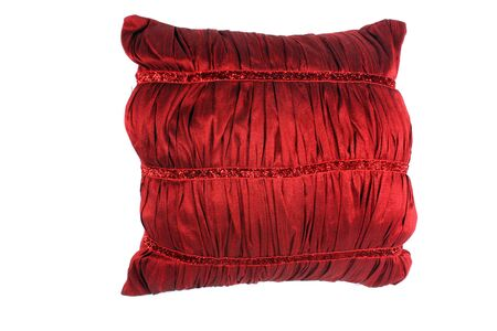 soft object: A luxurious red pillow made of soft satin, on white studio background