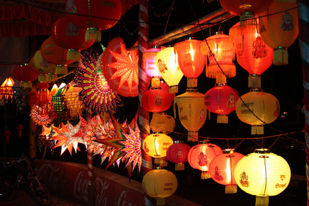 indian culture: A stall set up to sell various lanterns on the occasion of Diwali festival in India.