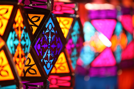 Beautiful colorful traditional lanterns for sale in a shop on occasion of Diwali  Christmas festival in India Stock Photo