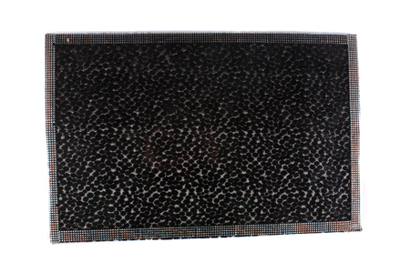 sequined: A black luxurious door mat with designer fabric and sequined border. Stock Photo