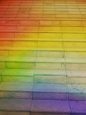 metaphorical: A metaphorical image of a rainbow staircase with steps leading to heaven. Stock Photo