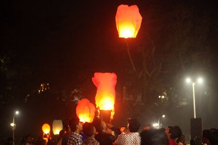 Pune, India - November 2018: Ever since Chinese product infiltration over the world, chinese lanterns also have not spared the Indian way of celebrating Diwali. People have started using these more than traditional lamps to celebrate the festival in India