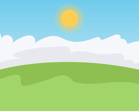 Green field, Clouds, Sky and Sun, Vector illustration