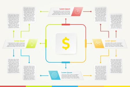 Business infographic for make money, 4 steps infographic template, Business concept infographic can be used for workflow layout, diagram, number options, progress, timeline, web, project, etc.