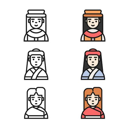 User Avatar icons. Woman character avatar icon set. Set of Woman avatar vector outline and filled outline icon.