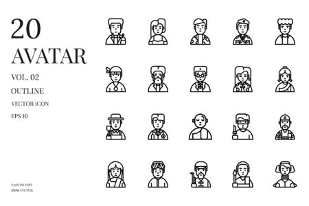 User avatar icons. Set of avatar vector outline icon. Pixel perfect icon. People character icon set.  イラスト・ベクター素材