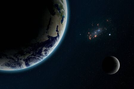 Earth, Moon and nebular in deep space universe. Galaxy and planet. Space wallpaper.