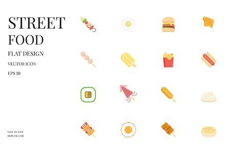 Street food flat icon. Food icon set. Set of food vector flat icon. Vector illustration.