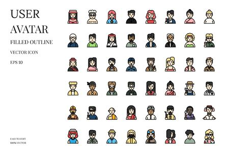 Avatar character icons. Set of user avatar vector filled outline icon. International people icon. Vector illustration.