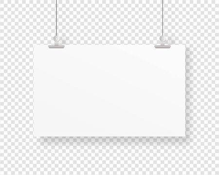 Empty paper frame mockup hanging with paper clip. Blank poster template. Mockup vector isolated. Template design. Realistic vector illustration.