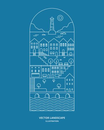 Urban landscape with building, house, store, and tree. Cityscape vector. Thin line style illustration.