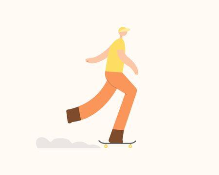 Young man rolling skateboard. Flat cartoon character vector.