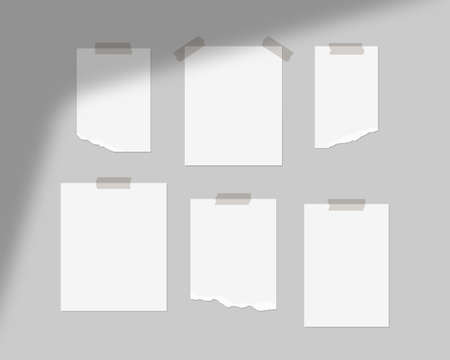 Mood board mockup template. Empty sheets of white paper on the wall with shadow overlay. Mockup vector isolated. Template design. Realistic vector illustration. Ilustración de vector