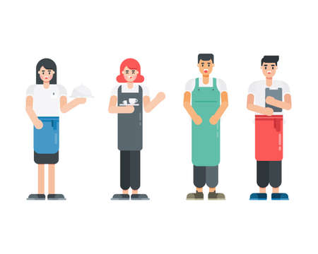 Set of waitress character. Restaurant staff characters in flat style. Vector illustration. 矢量图像