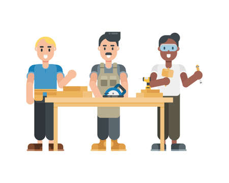 Set of carpenter characters. Modern cartoon character in flat style. Vector illustration.