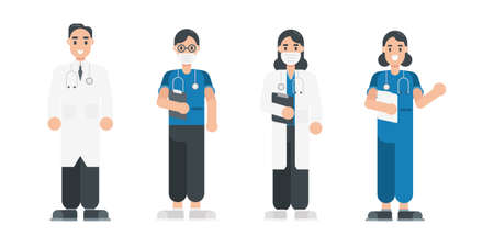 Set of doctor characters. Medical staff team characters in flat style. Vector illustration.